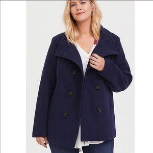 Torrid Navy Double Breasted Pea Coat